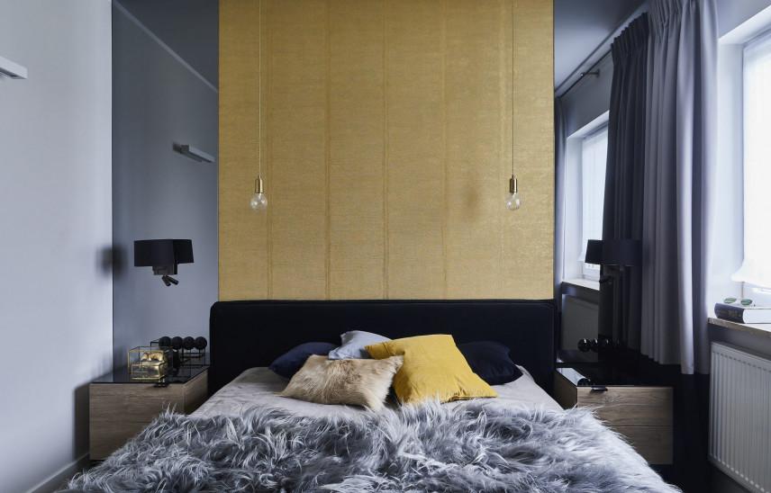 Aranżacja sypialni z żółtą ścianą