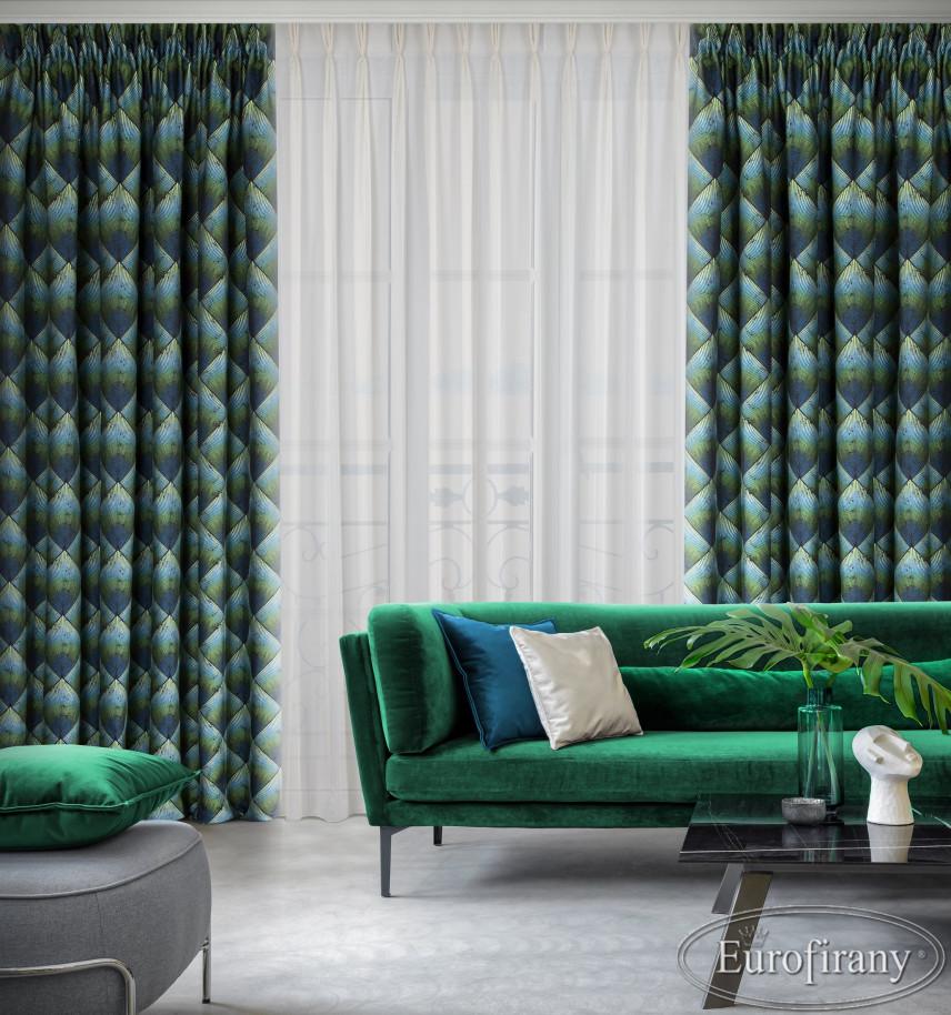 Stylowy salon z zielona sofą