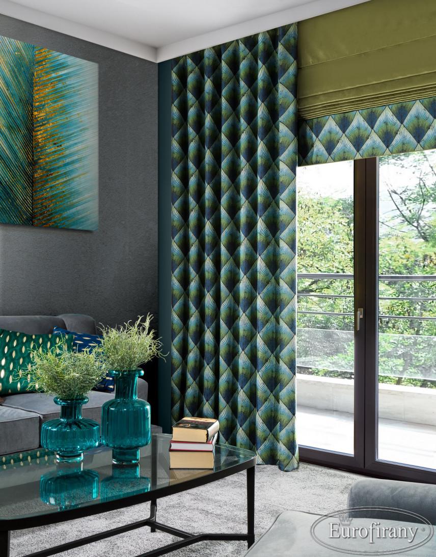 Szary salon z zielonymi dodatkami