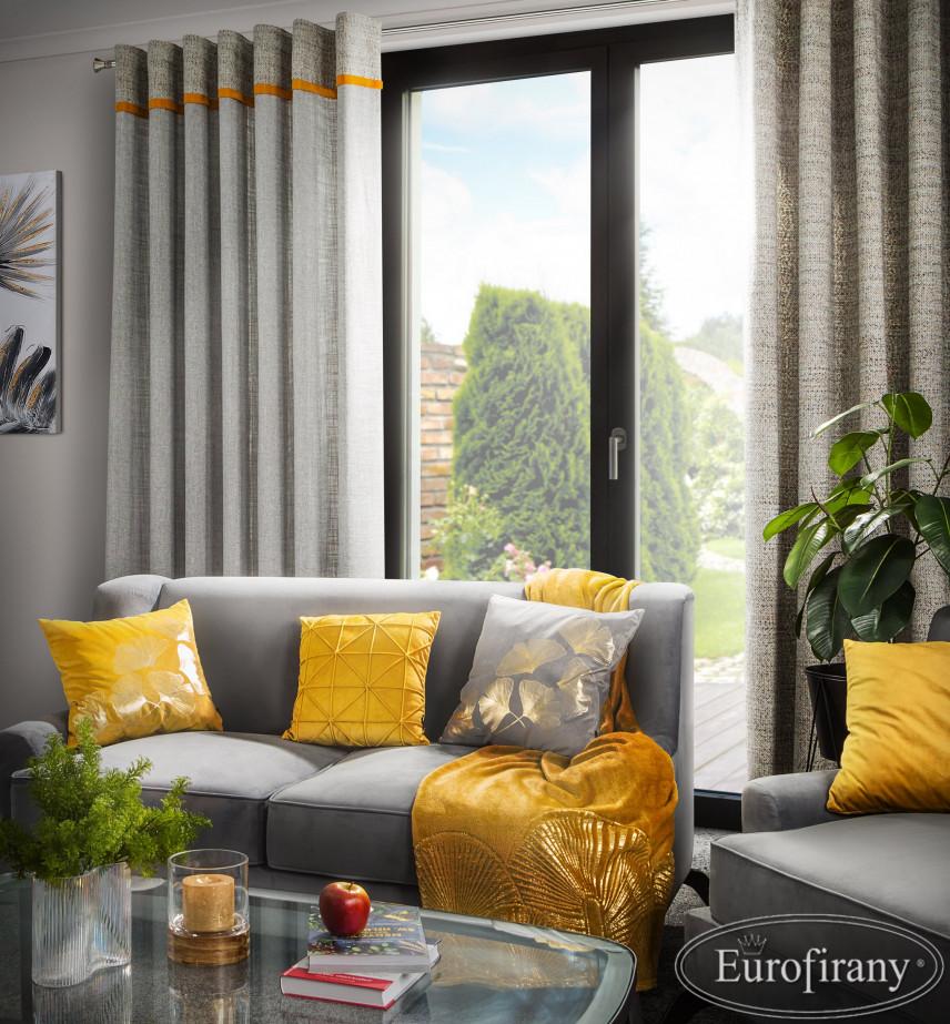 Aranżacja salonu z żółtymi dodatkami