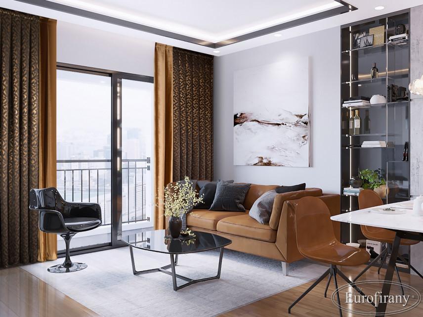 Salon z brązową sofą