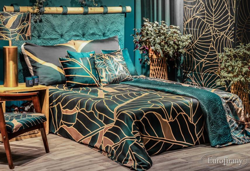 Aranżacja sypialni w turkusowych i złotych dodatkach