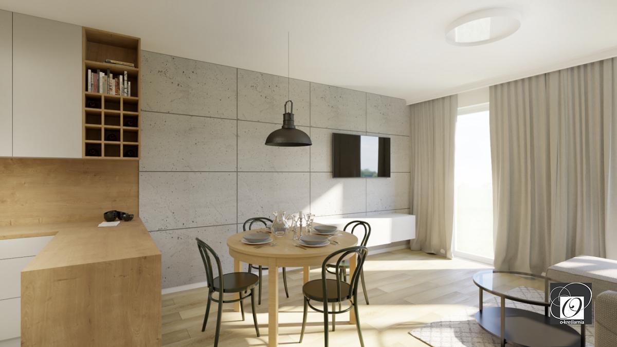 Aranżacja salonu z betonową ścianą