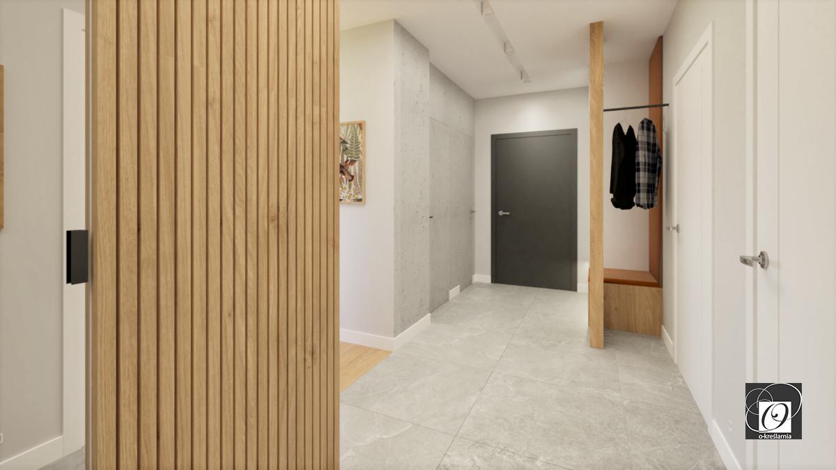 Aranżacja korytarza z elementami drewna
