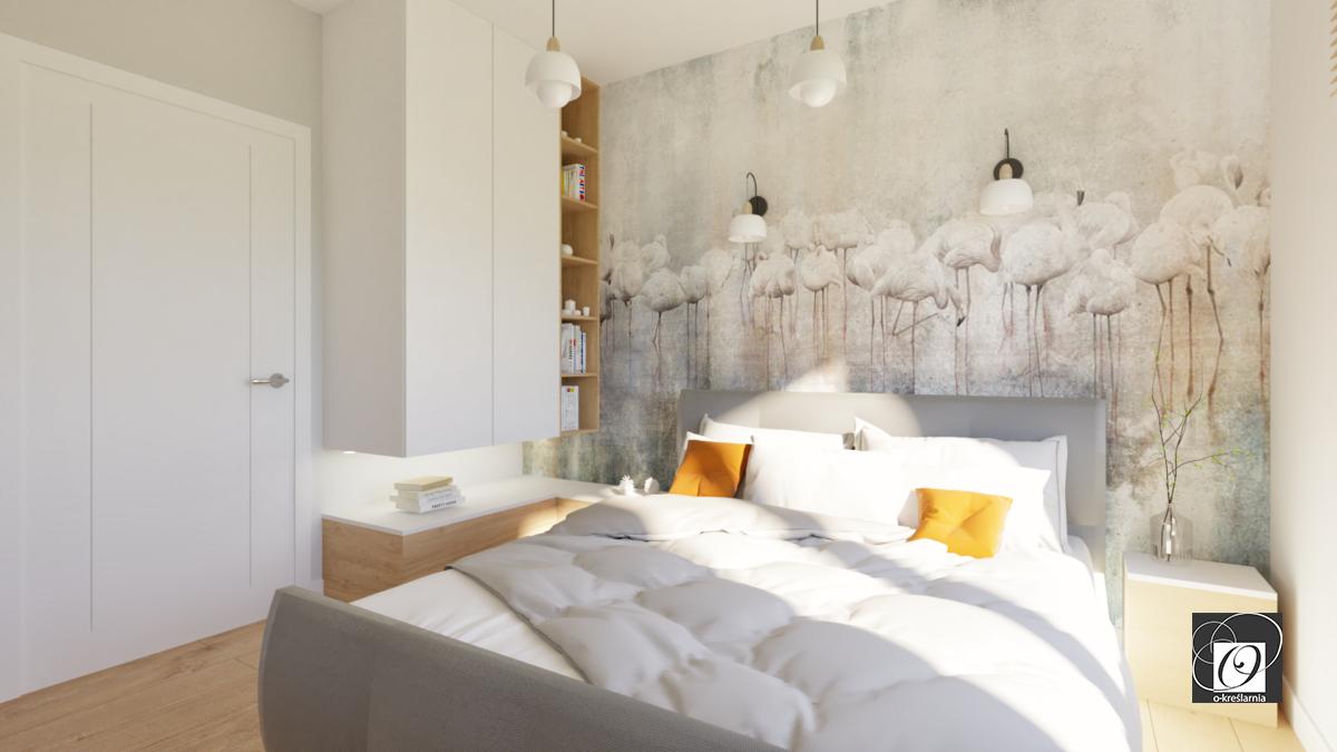 Aranżacja sypialni z tapetą w flamingi