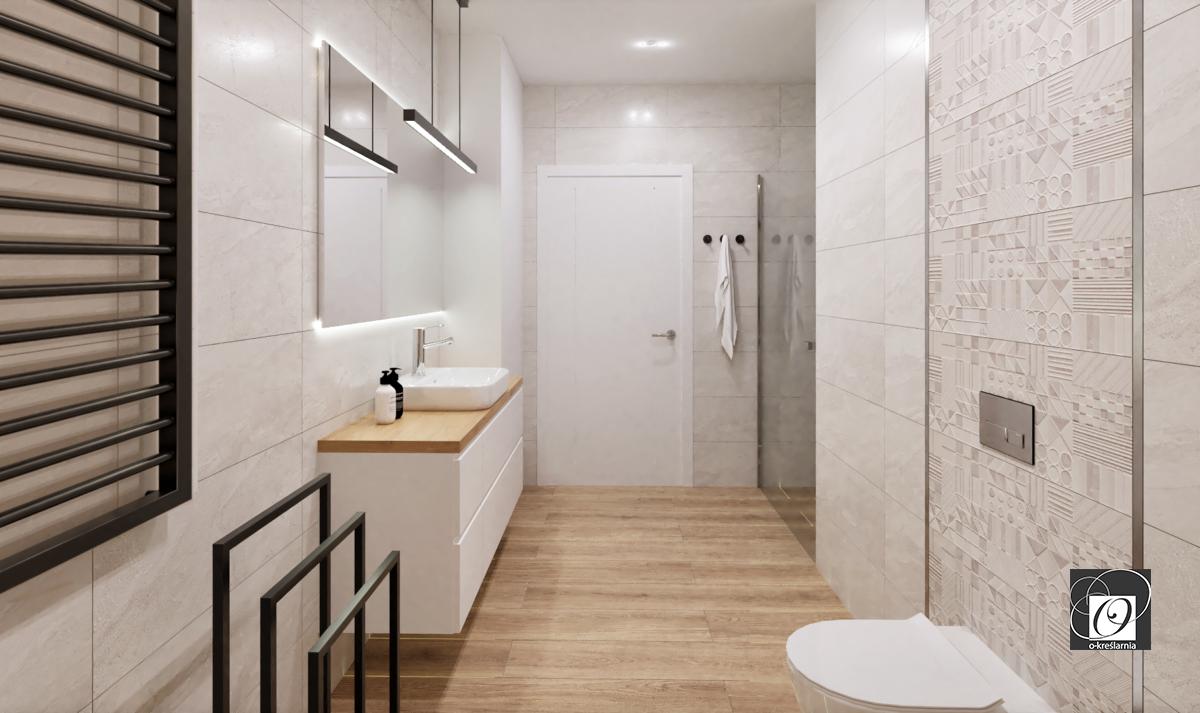 Łazienka z jasnymi płytkami i stylowym wieszakiem loft na ręczniki