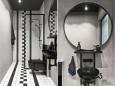 Loftowa łazienka z czarno-białą mozaiką