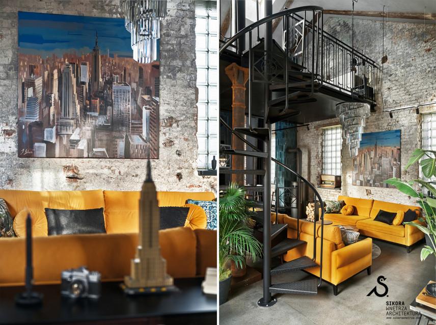 Unikalny, loftowy salon z designerskim żyrandolem