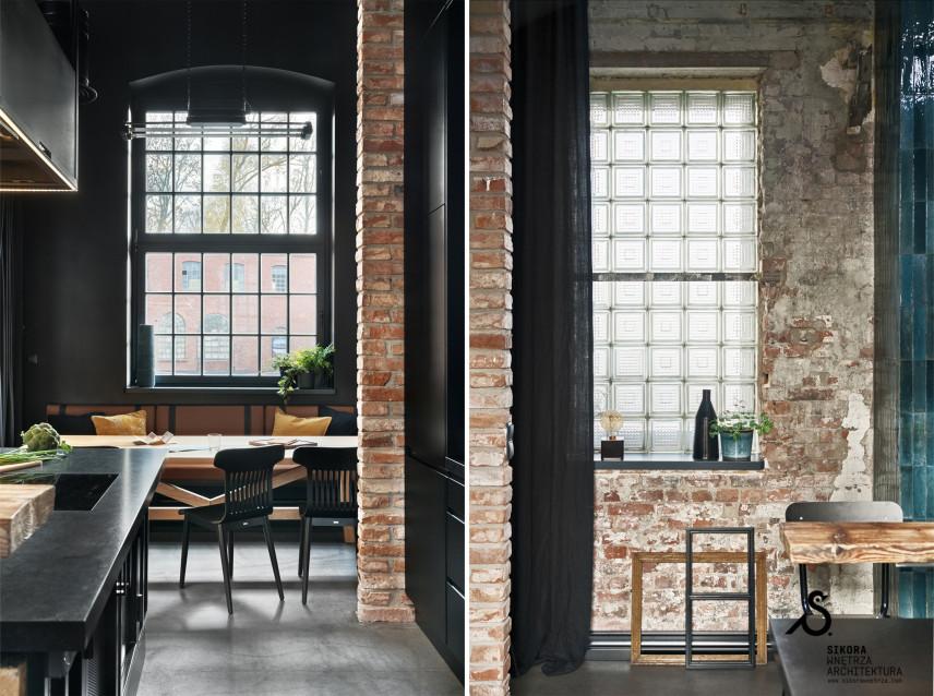 Jadalnia z rustykalną cegłą na ścianie