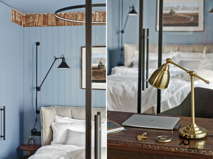 Stylowa sypialnia z błękitna ścianą