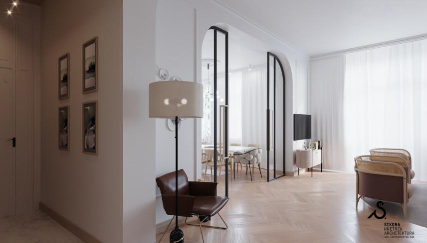 Klasyczny salon w kolorze białym