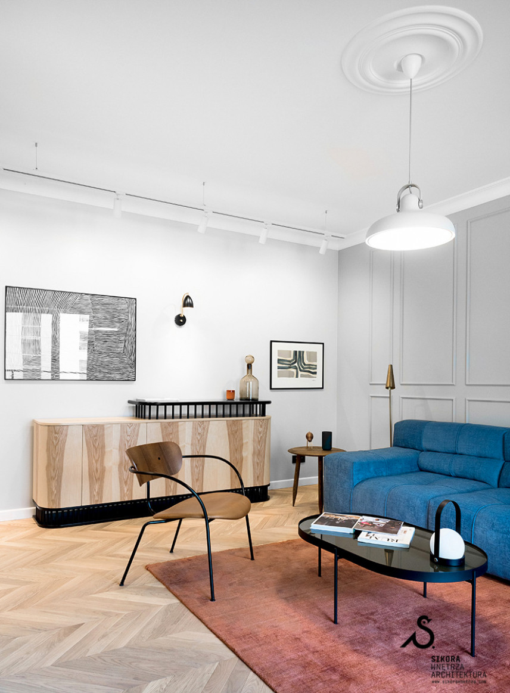 Jasny salon w stylu Art Deco
