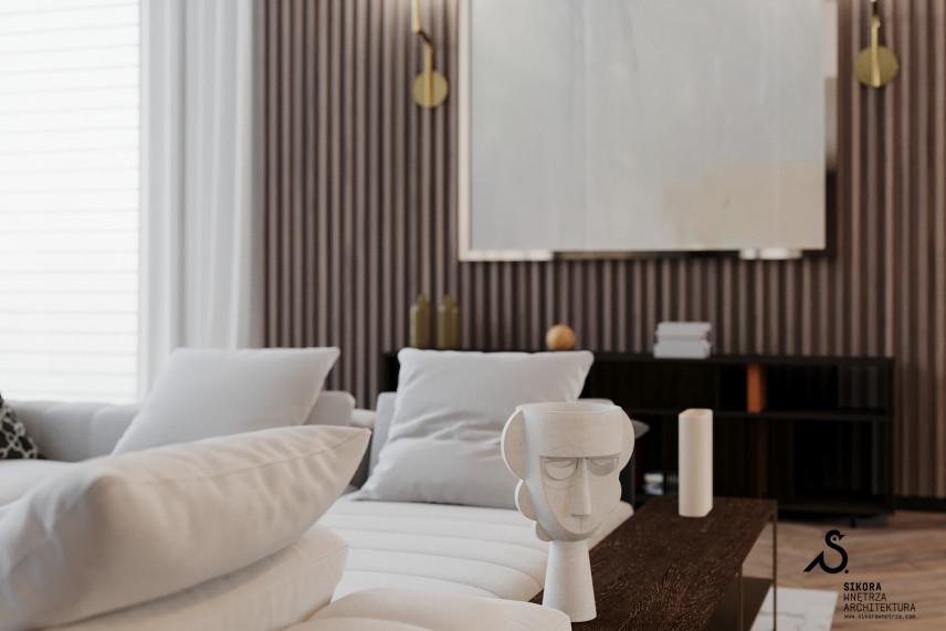 Salon z białymi kanapami