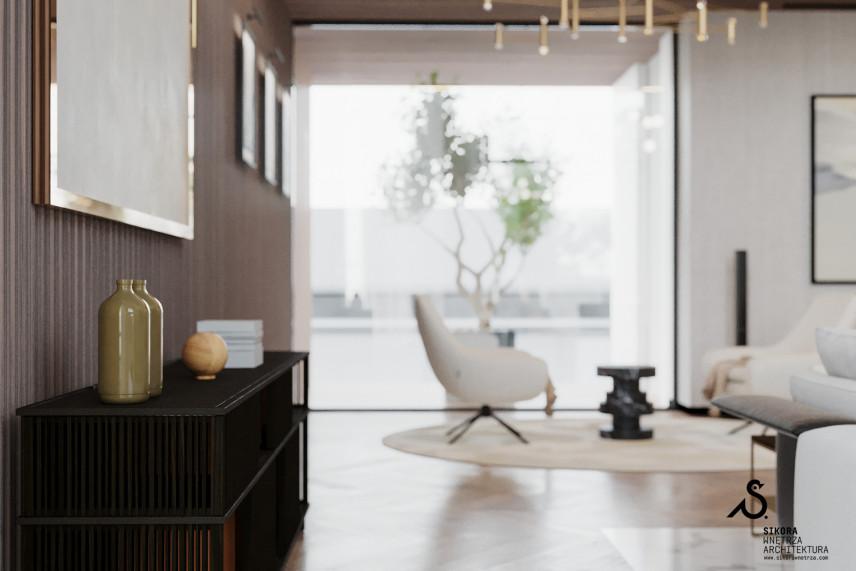 Białe meble w klasycznie nowoczesnym salonie