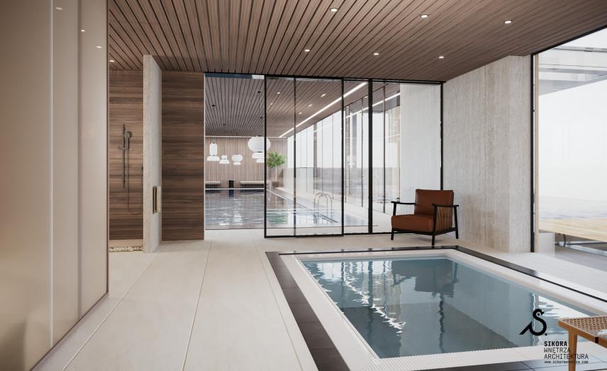 Przestrzeń z dwoma basenami
