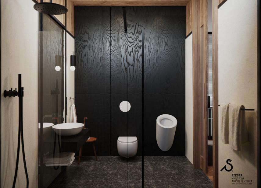 Designerska łazienka z prysznicem