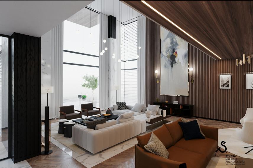 Przestronny i nowoczesny salon w klasycznym stylu