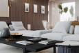Salon z białym narożnikiem i kanapą