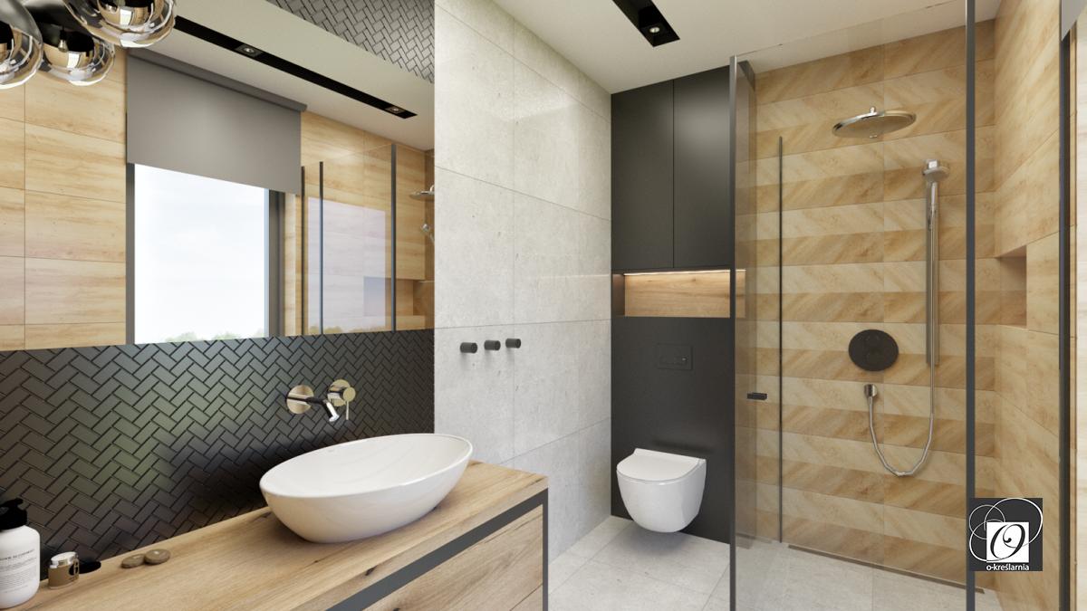 Aranżacja łazienki z płytkami z imitacją drewna