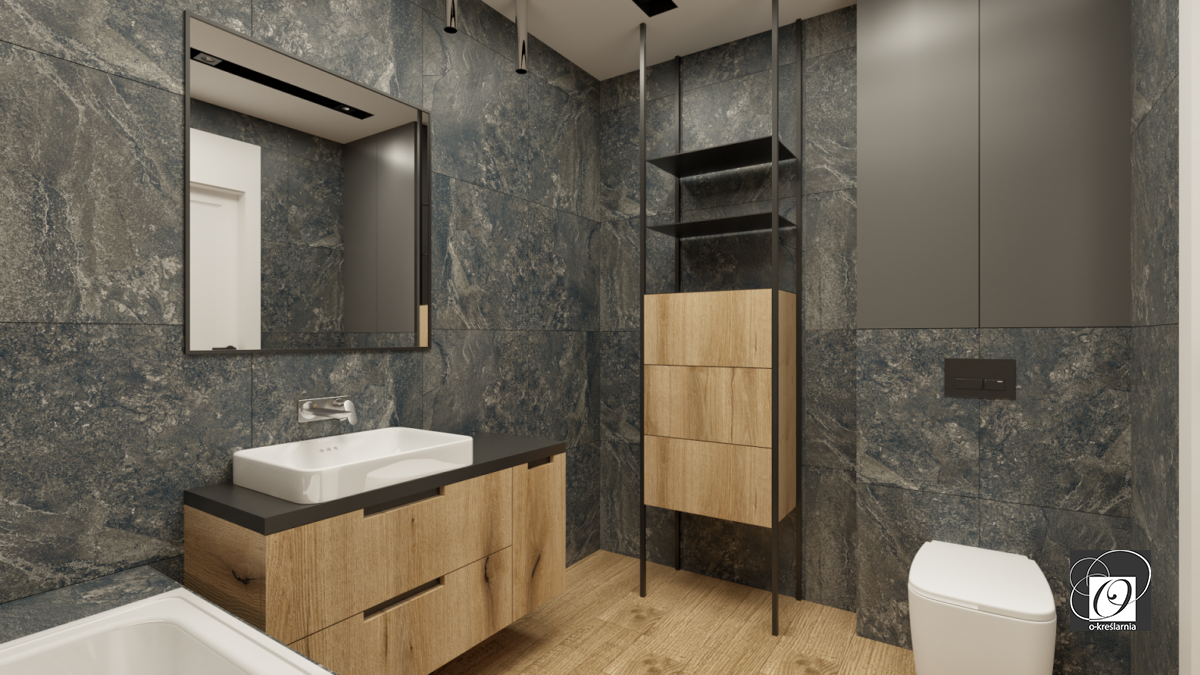 Loftowa łazienka z szarą płytką