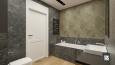 Łazienka z beżowymi płytkami 3d