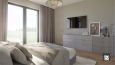 Aranżacja sypialni z telewizorem na ścianie