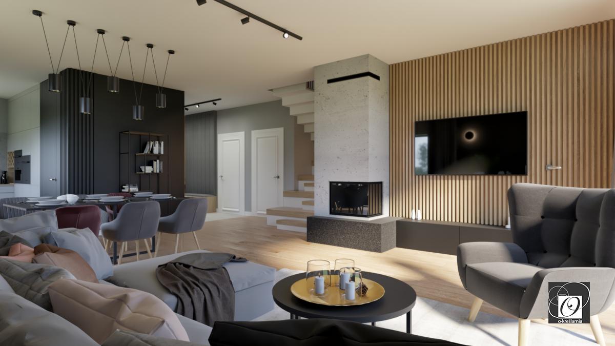 Aranżacja salonu z kominkiem i z drewnianą ścianą