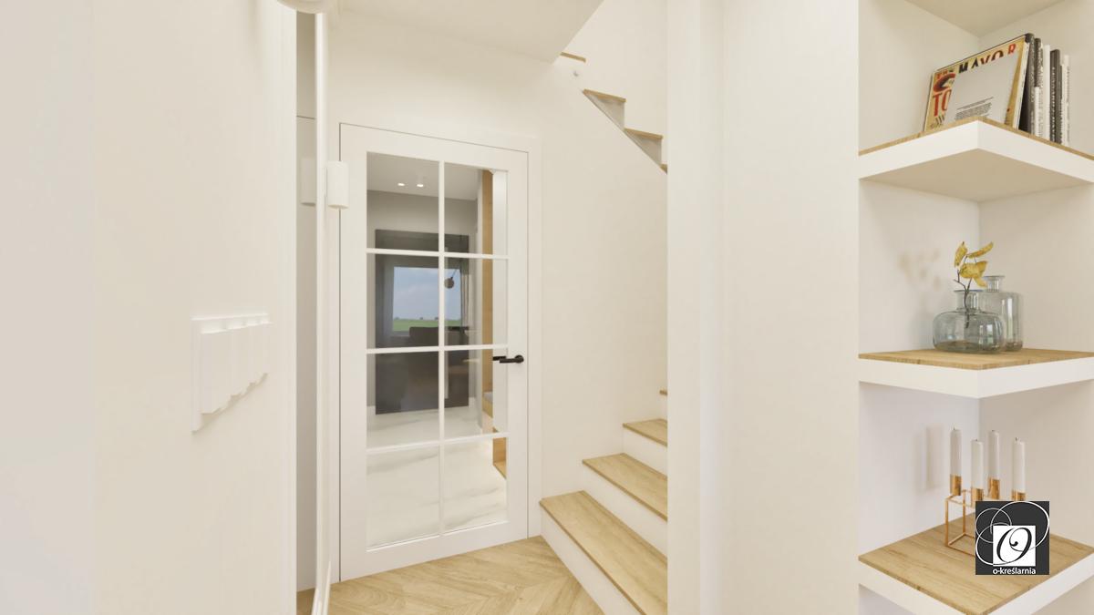 Aranżacja korytarza z drewnianymi schodami