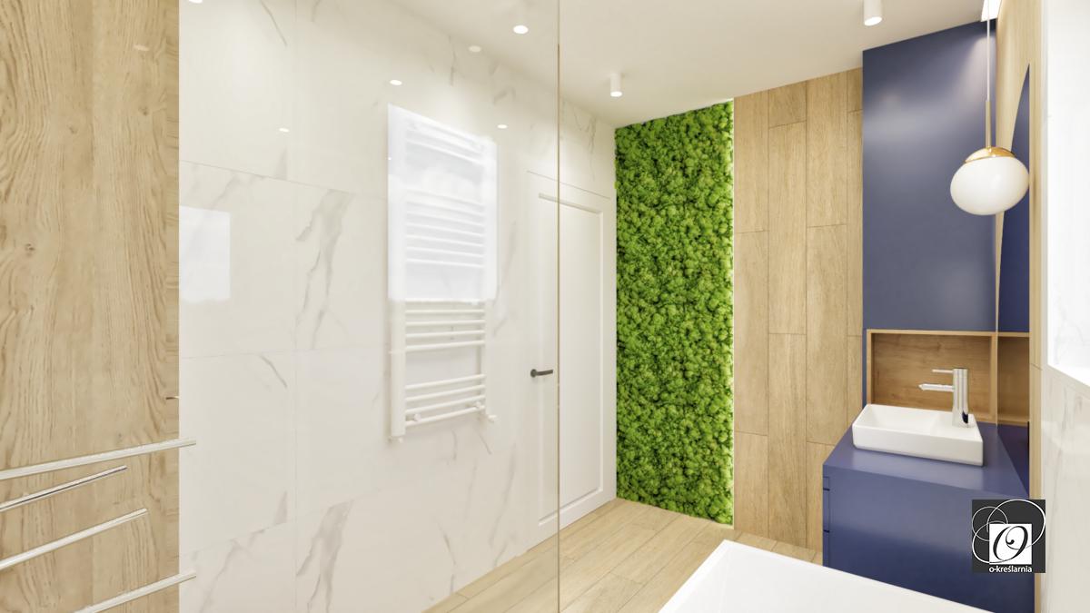 Łazienka z elementem floralnym na ścianie