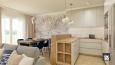 Jadalnia, salon i kuchnia w stylu Art Deco