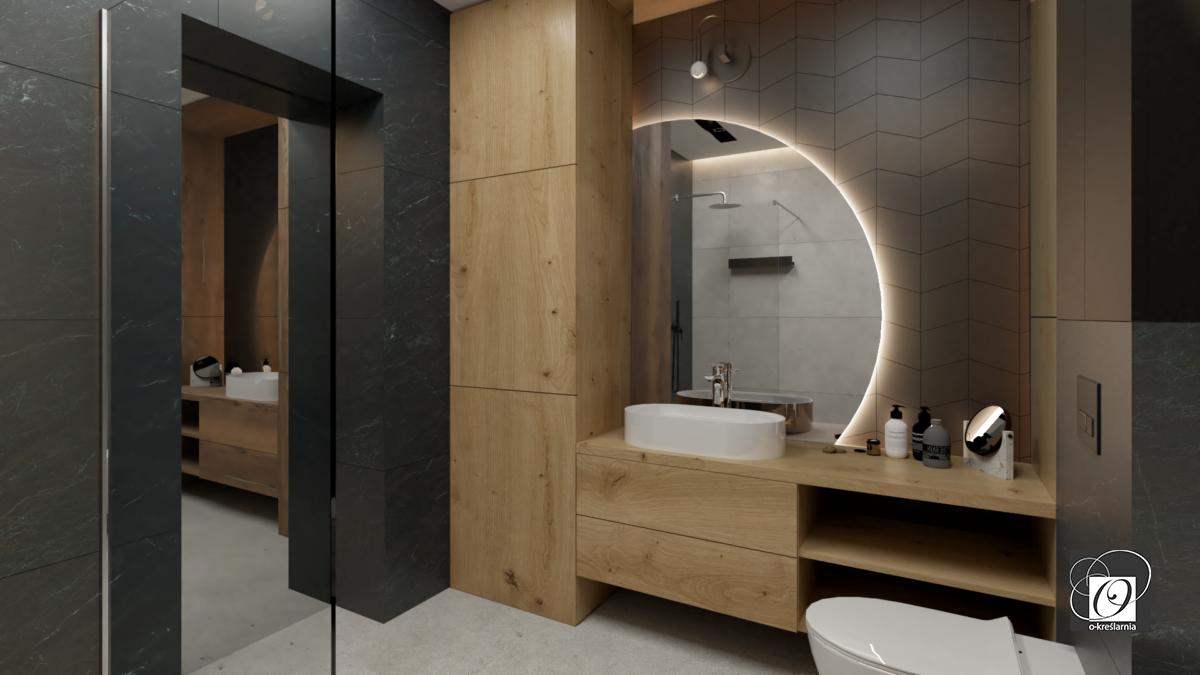 Modna aranżacja łazienki z drewnianym słupkiem