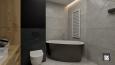 Aranżacja z szarą łazienką z wanną owalną.