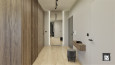Aranżacja korytarza z drewnianą szafą