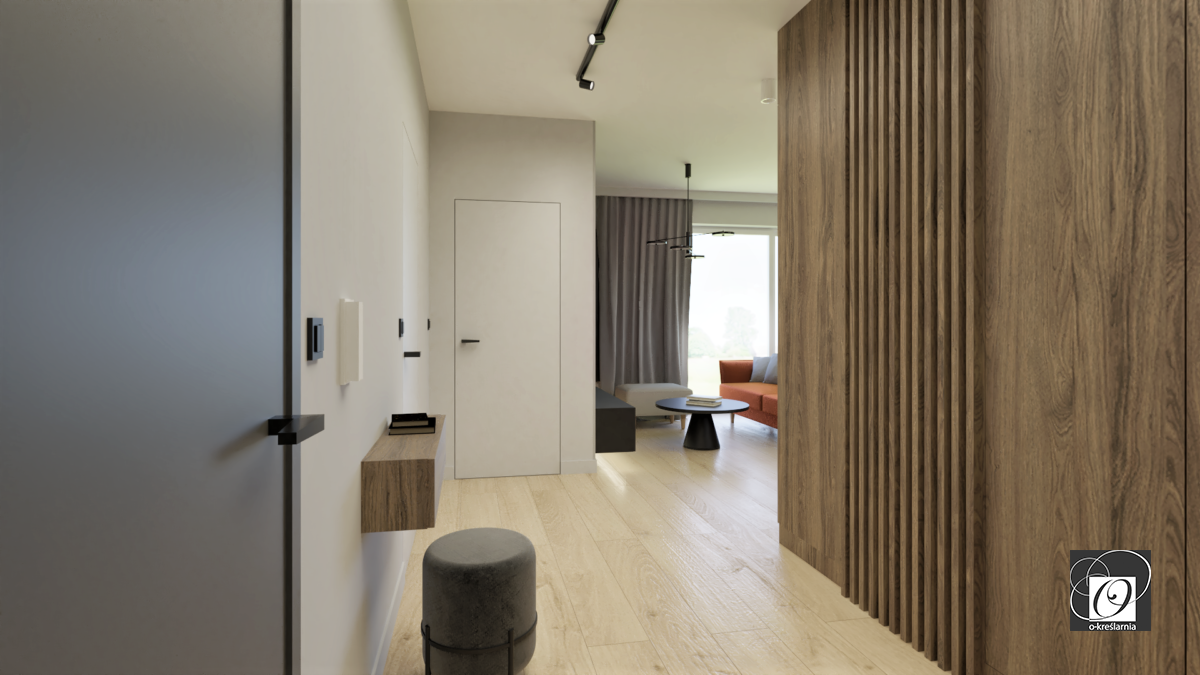 Aranżacja korytarza z jasnymi panelami