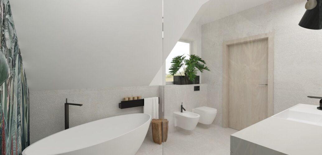 Szara łazienka z wanną owalną wanną
