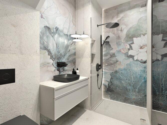 Aranżacja łazienki z czarnym zlewem