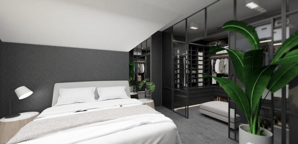 Aranżacja sypialni z garderobą ze szklanymi drzwiami