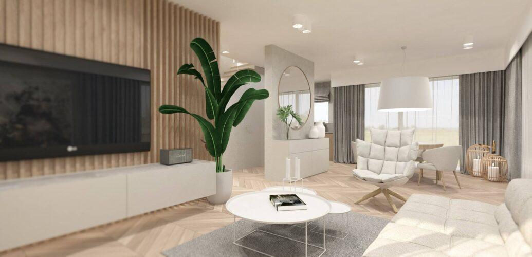 Salon z drewnianą ścianą i białą szafką podłużną