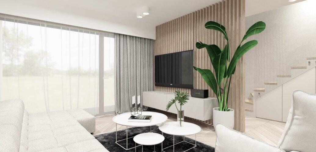 Aranżacja salonu z białą sofą