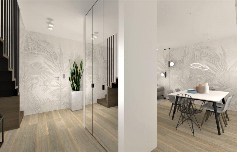 Aranżacja salonu ze ścianą działową