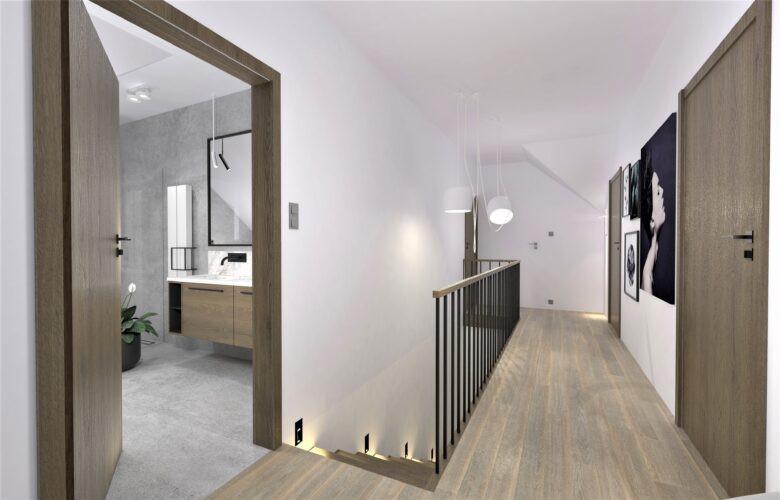Aranżacja korytarza z drewnianą barierką