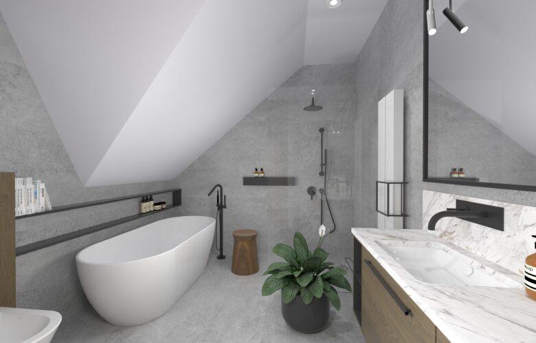 Aranżacja łazienki ze skosami i szarymi płytkami