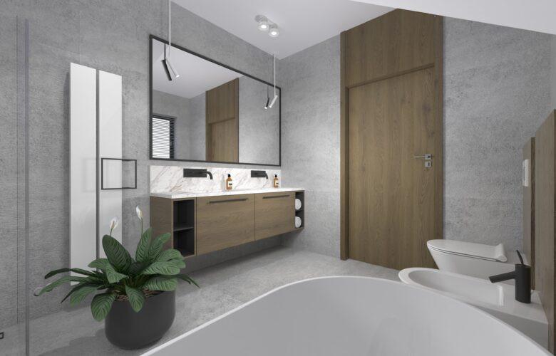 Aranżacja łazienki z dużym prostokątnym lustrem