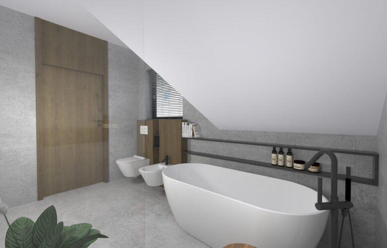 Łazienka z oknem na poddaszu