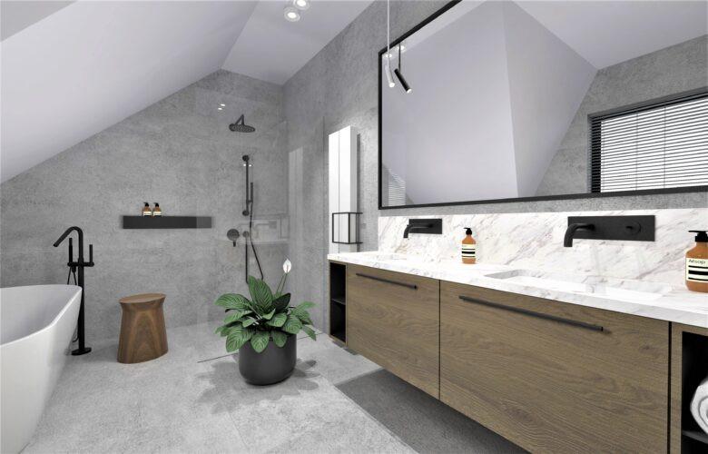 Aranżacja łazienki z białą wanną ceramiczną