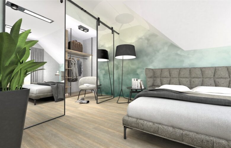 Aranżacja sypialni z tapetą na ścianie w zielonych odcieniach