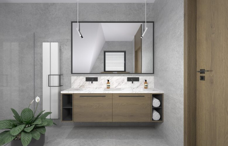 Aranżacja łazienki z szarą ścianą i białą szafką wiszącą