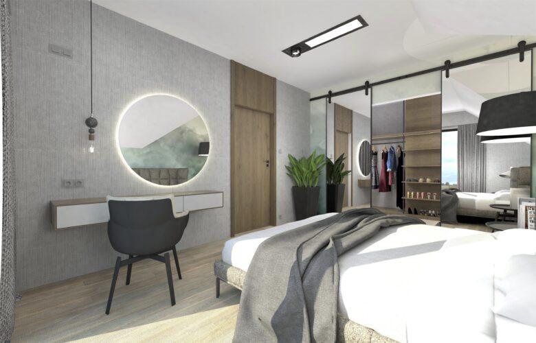 Aranżacja sypialni z toaletką i garderobą