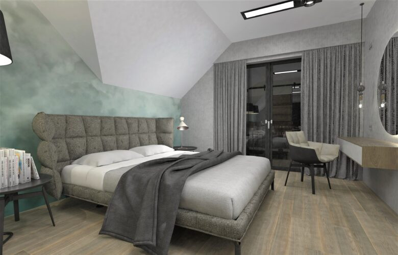 Aranżacja sypialni z tapicerowanym łóżkiem kontynentalnym