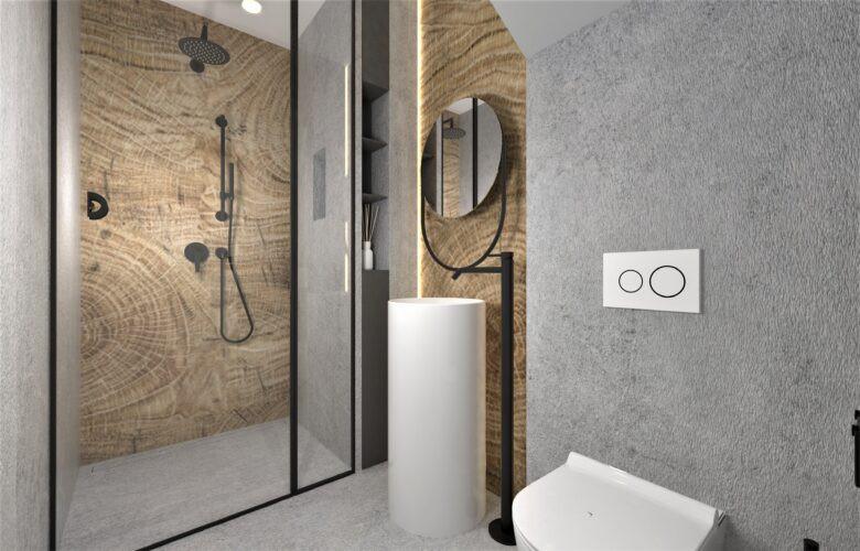 Aranżacja łazienki z designerskim zlewem stojącym